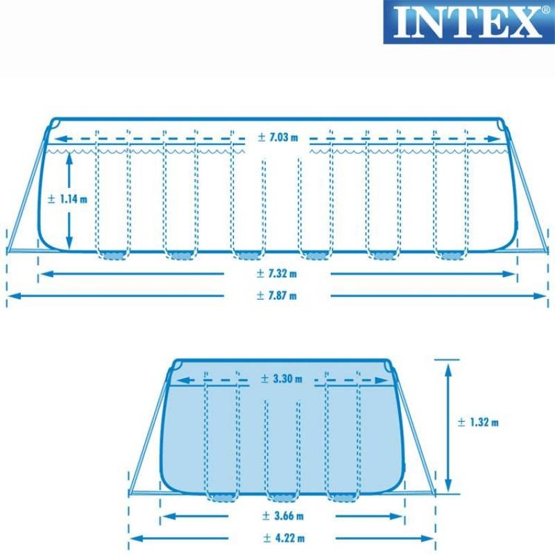 Intex ultra frame pool 732 x 366 cm for Bestway vs intex